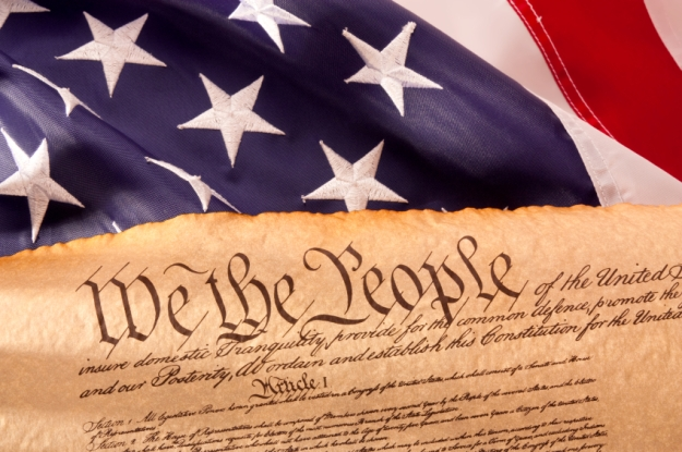US Constitution - We The People   with USA  Flag.